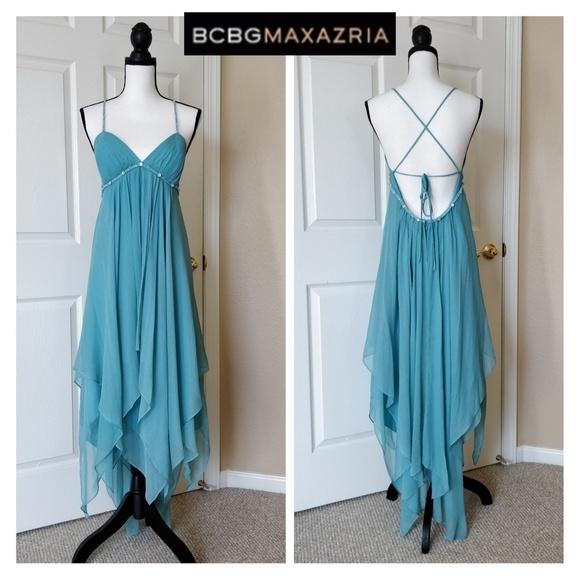 BCBGMaxAzria Dresses & Skirts - BCBGMaxAzria asymmetrical beaded silk dress 12